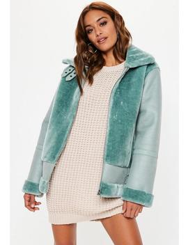 Light Green Faux Fur Aviator Jacket by Missguided