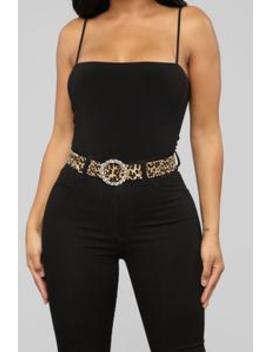 Diamond Heart Belt   Leopard by Fashion Nova