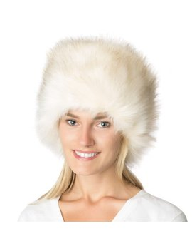 Faux Fox Fur Russian Pillbox Cossack Hat   Natural Polar White by Ll