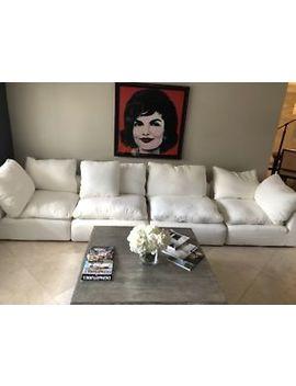 Restoration Hardware Cloud Modular Couch/Sofa Washed Belgian Linen White 4 Piece by Restoration Hardware