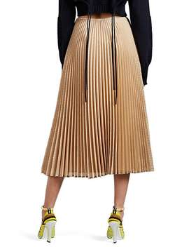 Perforated Plissé Midi Skirt by Fendi