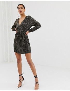 Asos Design Mini Wrap Dress In Gold Spot Plisse by Asos Design