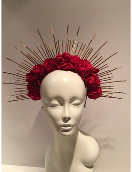 Red Flower Headband  Flower Crown   Hair Accessory  Heavenly Bodies by Etsy