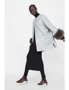 Coat With Faux Fur Cuffs  Coatswoman Sale by Zara