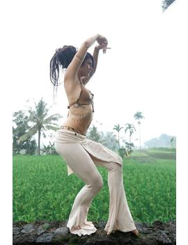 Tribal Goddess Dance Pants   Bamboo Ecstatic Dance Dancers Fusion Festival Flared Belly Bottom Black Cream Dancing Dakini by Etsy