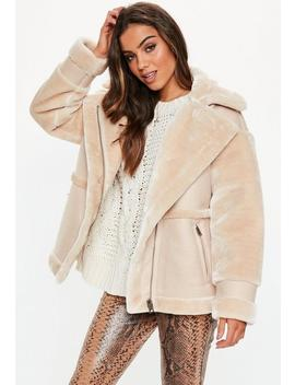 Sand Faux Fur Aviator Coat by Missguided
