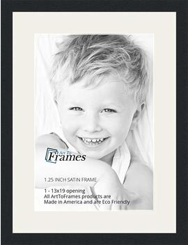 Art To Frames 13 X 19 Inch Opening Single Mat With A Satin Black 1.25'' Wide Picture Frame, 2'' Super White Mat by Art To Frames