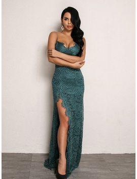 Joyfunear High Split Open Back Bodice Lace Overlay Dress by Sheinside