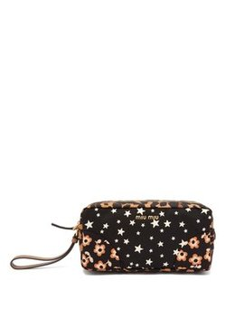 Contrast Panel Printed Wash Bag by Miu Miu