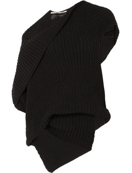 Moran One Shoulder Draped Ribbed Cotton Sweater by Roland Mouret