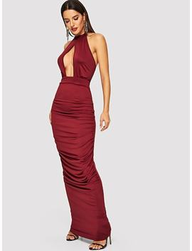 Cut Out Front Draped Dress by Shein
