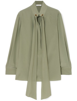 Tie Neck Silk Crepe De Chine Blouse by Chloé