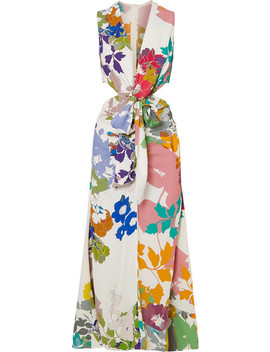 Cartagena Open Back Floral Print Crepe Maxi Dress by Silvia Tcherassi