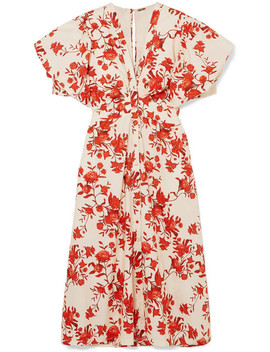 Floral Print Cotton Poplin Midi Dress by Johanna Ortiz
