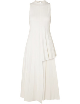 Asymmetric Pleated Ribbed Knit Dress by Peter Do