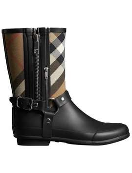 Buckle And Strap Detail Check Rain Boots by Burberry