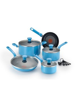 T Fal 14pc Nonstick Cookware Set Blue Turquoise by T Fal