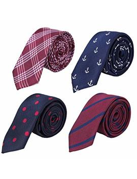 Ausky 4 Packs Mens Slim Tie 2 Inch Wide Fashion Textured Skinny Neckties For Men Boys by Ausky