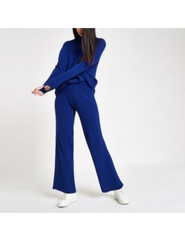 Blue Knit Wide Leg Trousers by River Island
