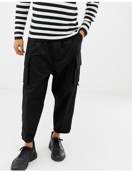 Asos Design Cargo Pants With Strapping In Black by Asos Design