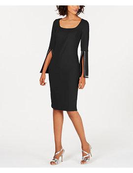 Blingy Bell Sleeve Sheath Dress by Calvin Klein