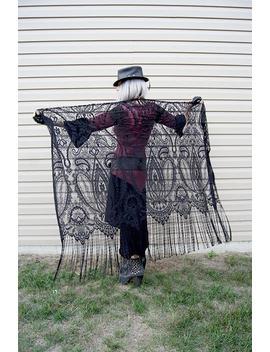 Shawl   Black Lace Crochet Shawl   Victorian   Belly Dance Clothing Accessory   Boho Gypsy   Sexy Goth Shawl   Tribal Fusion   Black Lace by Etsy