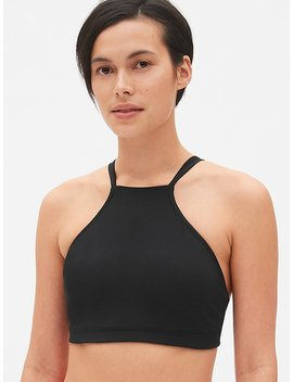 Gap Fit Blackout Medium Impact High Neck Strappy Sports Bra by Gap