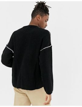 Bershka Knitted Sweater In Black With White Stitch Detailing by Bershka