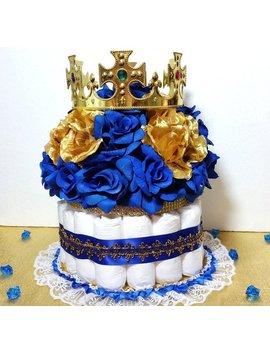Diaper Cake Centerpiece For Royal Prince Baby Shower / Boys Royal Blue And Gold Baby Shower Theme And Decorations by Etsy