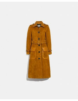 Western Suede Trench Coat by Coach