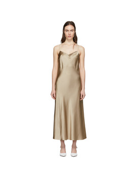 Beige Silk Satin Stone Dress by Joseph