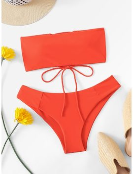 Lace Up Back Bandeau With Cheeky Bikini Set by Sheinside