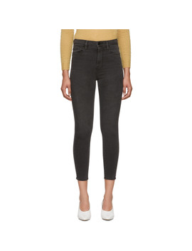 Grey Ali High Rise Cigarette Jeans by Frame