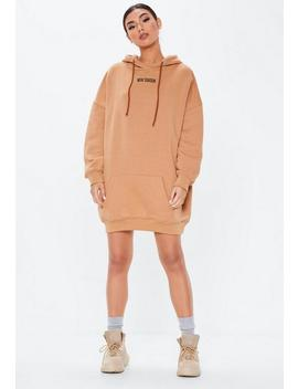 Camel New Season Oversized Hoodie Dress by Missguided