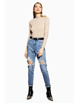 Bleach Destroy Ripped Mom Jeans by Topshop