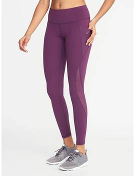 Mid Rise Elevate Side Pocket Mesh Trim Compression Leggings For Women by Old Navy