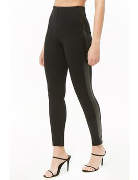 Faux Leather Trim Leggings by Forever 21