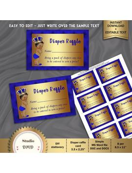 Diaper Raffle Card, Printable Diaper Raffle Card, Little Prince, Royal Blue, Gold   Digital File, Editable Text In Microsoft Word, Bbs01 by Etsy