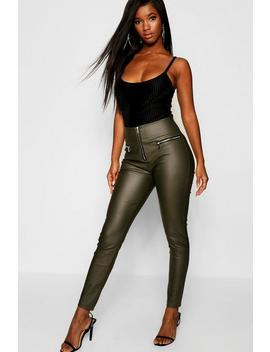 Zip Front High Waist Leather Look Pants by Boohoo