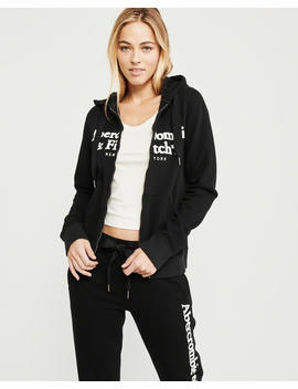 Full Zip Embroidered Logo Hoodie by Abercrombie & Fitch