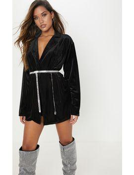 Black Ribbed Velvet Oversized Blazer  by Prettylittlething