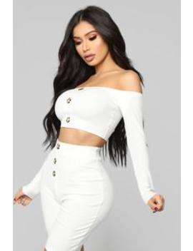 Push More Buttons Ribbed Set   Ivory by Fashion Nova