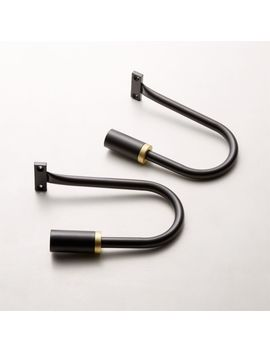 Seamless Black With Brass Band Tiebacks Set Of 2 by Crate&Barrel