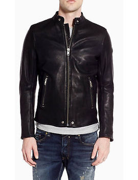 Diesel L Roshi Moto Lambskin Leather Jacket Black Large Men's $898 New With Tags by Diesel