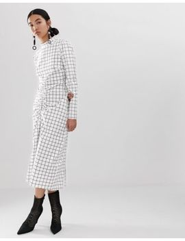 Asos White Grid Print Dress With Ruched Front Detail by Asos White