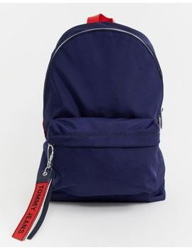 Tommy Jeans Logo Tape Mini Backpack In Blue by Tommy Jeans