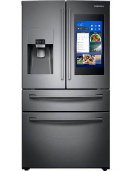 Family Hub 27.7 Cu. Ft. 4 Door French Door Refrigerator   Fingerprint Resistant Black Stainless Steel by Samsung