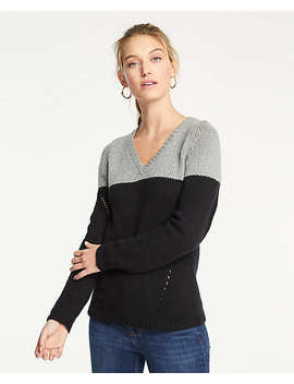 Colorblock Pointelle V Neck Sweater by Ann Taylor