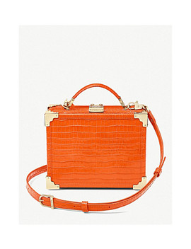 Trunk Mini Crocodile Embossed Leather Clutch Bag by Aspinal Of London