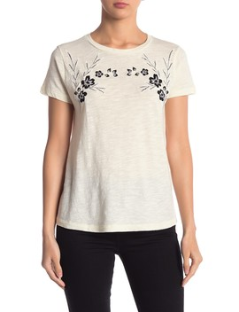 Black Embroidered Floral Tee by Lucky Brand